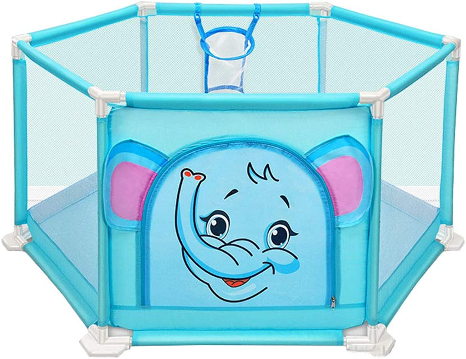 Playpen Kids Playground Indoor Home Security Fence Foldable Lightweight Mesh Baby Playpen (color   bluee)