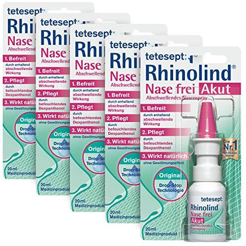 tetesept Rhinolind Nase frei Abschwellendes Nasenspray – Nasenspray abschwellend bei Erkältung & Schnupfen - befreit & pflegt die verstopfte und wunde Nase – 5 x 20 ml