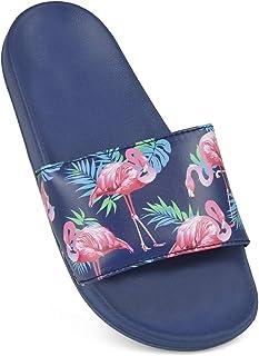 Ladies Flamingo Print Flip Flops Sandals Pool Slide Slip On Shoes Summer Beach
