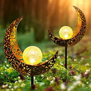 infinitoo 2 Pack Solar Moon Light, Outdoor Solar Lanterns, Solar Garden Lights, Patio Decor Metal Yard Art Garden Accessor...