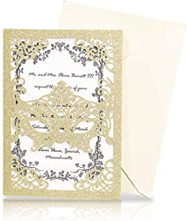 KAZIPA 25pcs Laser Cut Wedding Invitations, 5x7 Masquerade Party Invitations with Ivory Envelops for Makeup Party Wedding Bridal Shower Engagement Graduation Invitation Cards