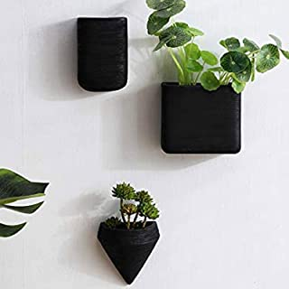Set of 3 Black Wall Flower Succulents Planters Ceramic Geometric Wall Hanging Decor Container -Gift for Girl Women &Mom
