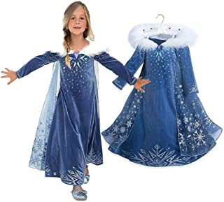 EsTong Girls Snow Princess Fancy Cosplay Dress Winter Toddlers Halloween Costume Party Dress Up