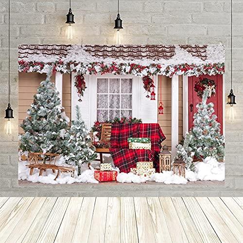 Invierno Navidad Paisaje árbol Regalo Nieve luz Campana bebé Ventana Retrato decoración telón de Fondo Estudio fotográfico Personalizado Vinyl-250x180cm