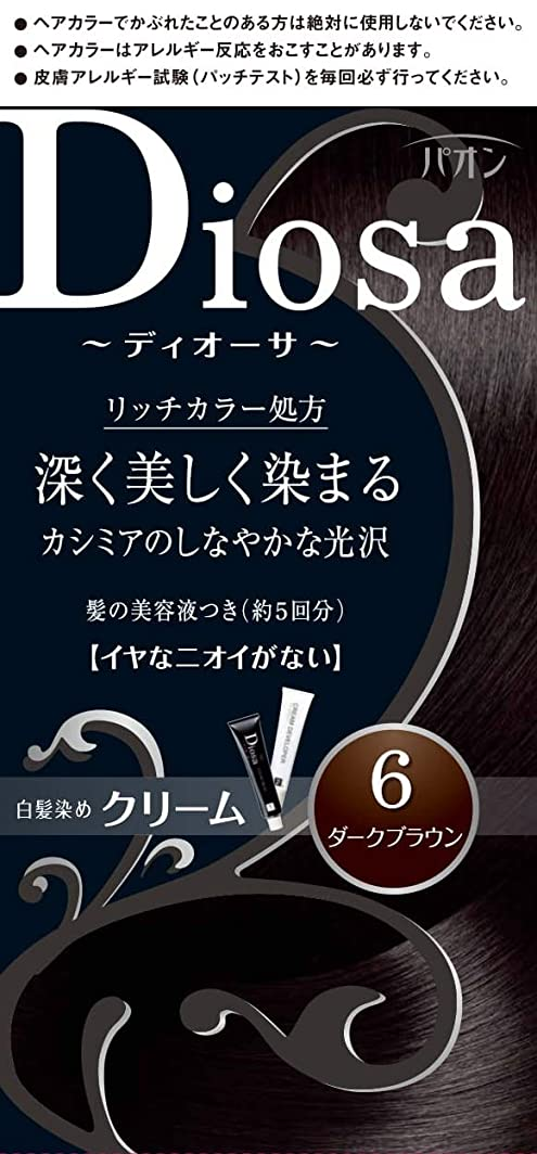 意欲鯨天気パオン ディオーサ クリーム 6 ダークブラウン 40g+40g 髪の美容液10g