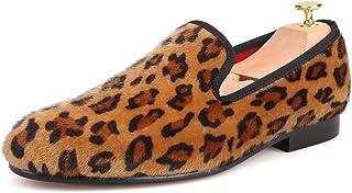 a6d34e8f0fcbc HI HANN Handmade Leopard Prints Loafers Men Horsehair Shoes Slip-on Smoking  Slipper Men Flats