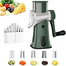 Rotary Cheese Grater, KOKOCA Upgraded Kitchen Mandoline Vegetable Slicer with 5 Interchangeable Blades, Easy to Clean Juli...