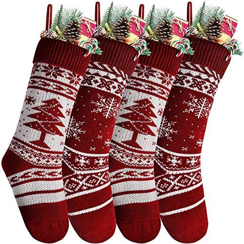 Ausein Calcetín Navideño, Bolsa de Regalo de Saco de Calcetín de Navidad para la Decoración del Árbol Adorno Navideño, Bolsa de Dulces (4 Pack)