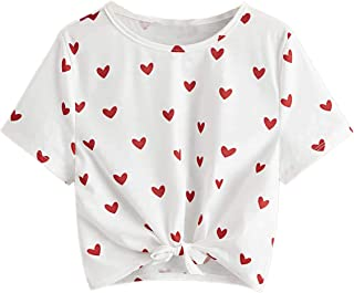 Romwe Girl's Cute Heart Print Knot Front Short Sleeve T Shirts Tee Tops