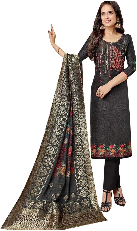 Deep Grey Indian Ethnic Upada Silk Semistitched Salwar Kameez for Women Designer Bespoke dress 7674