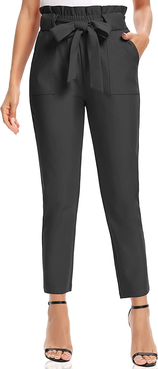 V VOCNI Women's Cropped Paper Bag Elastic Waistband Slim Fit Pants Office Casual Trousers