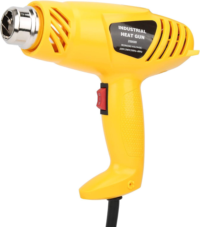 Soplador de aire caliente, portátil, buen rendimiento, mejora la eficiencia de trabajo, material ABS, 2000 W, herramientas eléctricas con 5 boquillas para accesorios industriales.