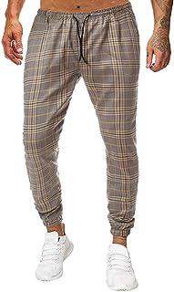 ZEZKT, Pantalones a Rayas a Cuadros para Hombre pantalón Largo Deporte Pants Moda Casual Pantalones Largos Estampados para Hombres