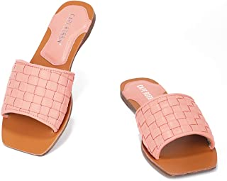 Freedom Flat Sandals Slides for Women, Woven Womens Mules Slip On Shoes