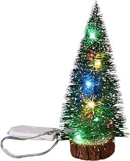 Goefly Mini árbol de Navidad, Cedro con Luces LED de Hadas Pequeño árbol de Navidad para la decoración de Escritorio del árbol de Navidad
