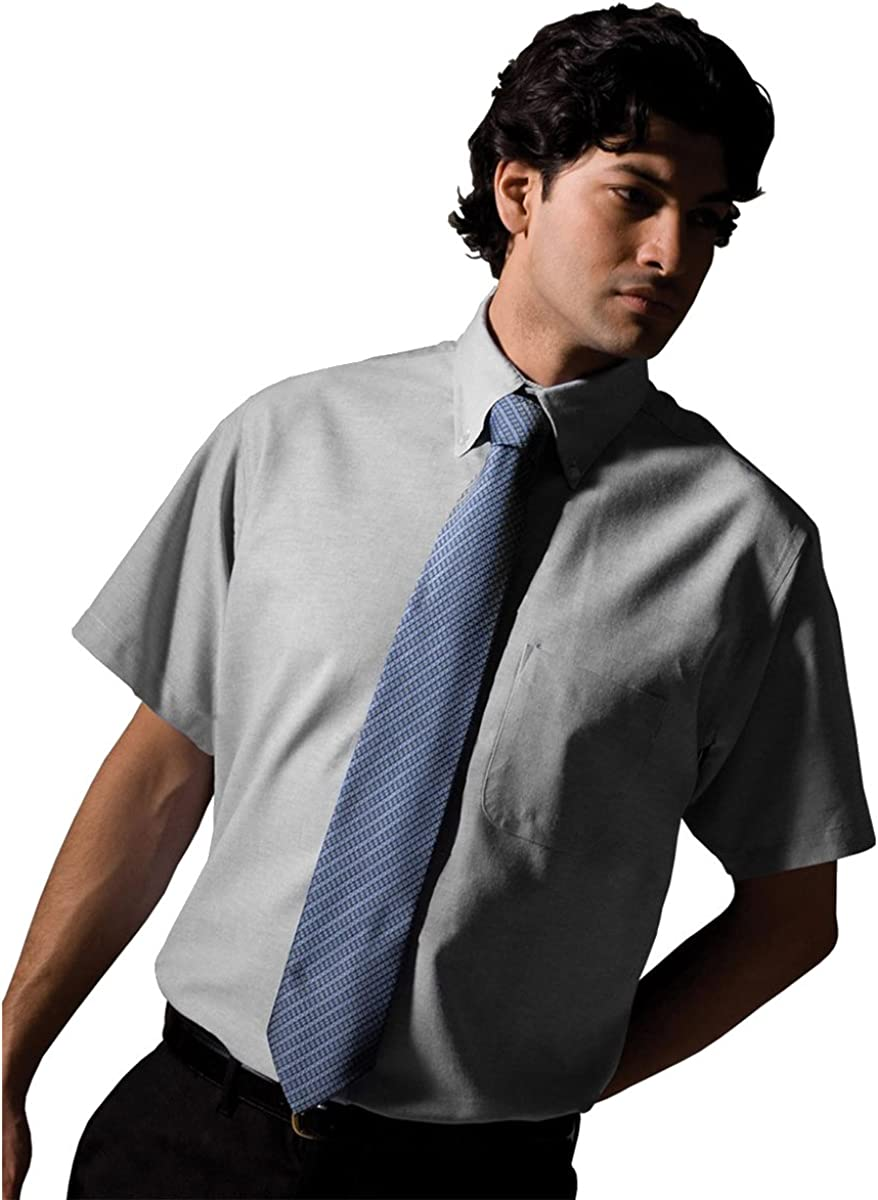 Edwards Garment Men's Big And Tall Short Sleeve Oxford Shirt_LIGHT GREY_X-Large Tall