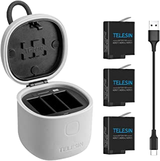 TELESIN Allin Box Cargador para GoPro Gopro Kit de batería multifunción cargador USB LED de 3 canales almacenamiento + carga + lector de tarjetas SD para GoPro Hero 7 Black/Hero 2018/Hero 6/5