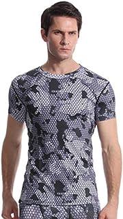 Tシャツ メンズ Boybya 筋トレヨガ服 半袖 チェック迷彩柄 プリント 吸汗速乾 通気性 快適 タイト 簡約風 ゆったり ボディビル インナー マッスルフィット オシャレ 人気 カジュアル トレーニングウェア スポーツウェア フィットネス ストリート