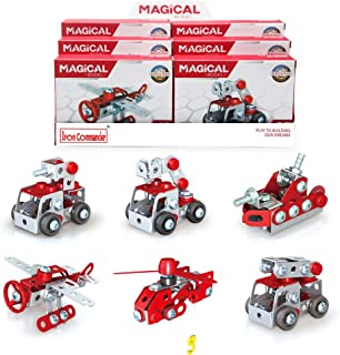 IRON COMMANDER Mini Erector Set Metal Building Set, Various Vehicles Model Stem Toys for Boys Ages 13 and up (Fire Series)