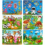 Dreampark Puzzles for Kids & Toddlers Ages 3-8, (6 Pack) Wooden Jigsaw Puzzles
