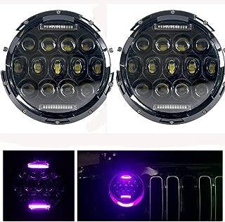 HOZAN 7 Inch 75W LED Headlight with Purple DRL for Jeep Wrangler JK TJ CJ LJ Sahara Rubicon Hummer H2