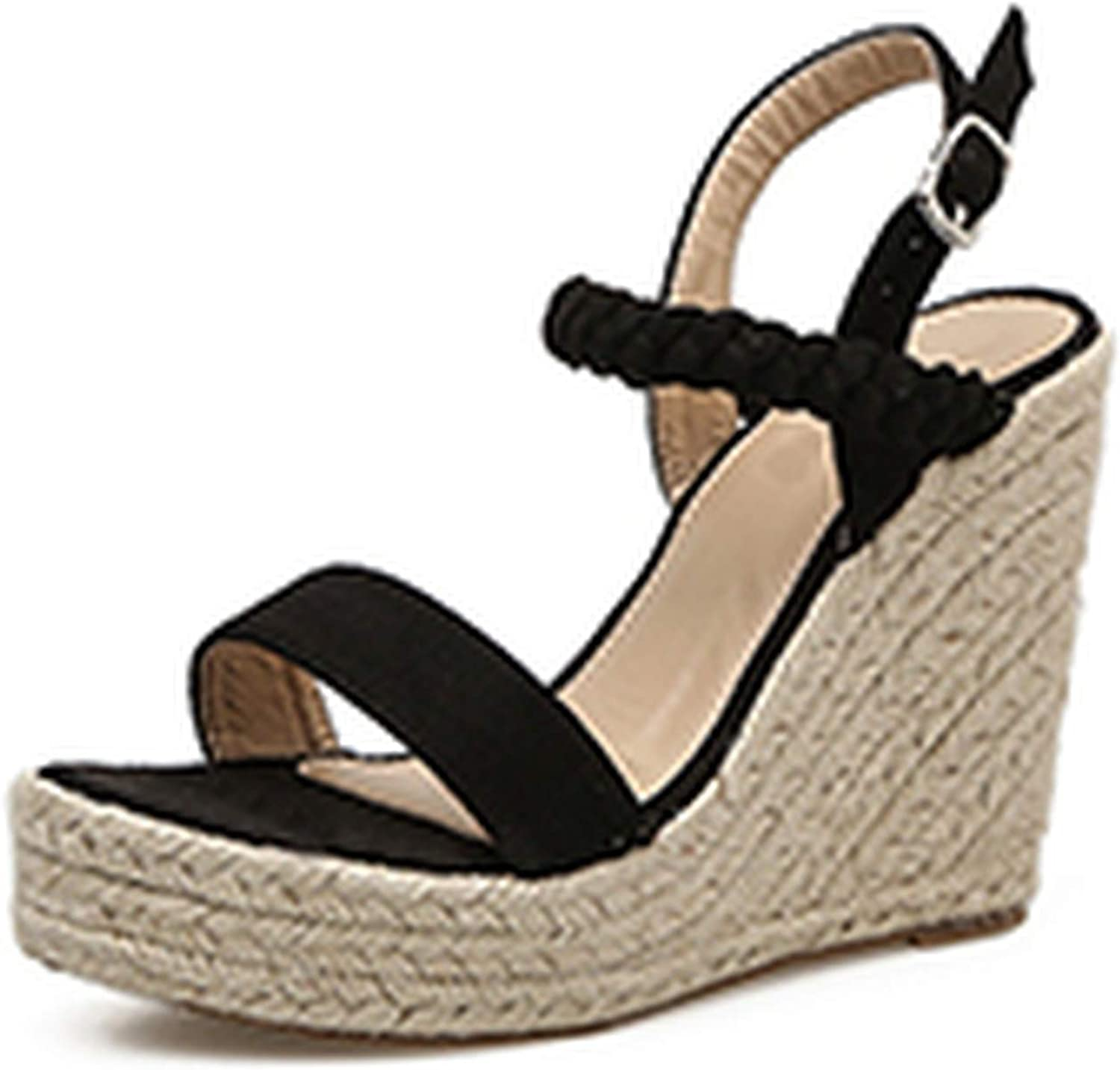 Ches Classics Sandals for Women Flock Wedges Buckle Strap Wedges High Heel Gladiator Casual Ladies Sandals Size 35-40