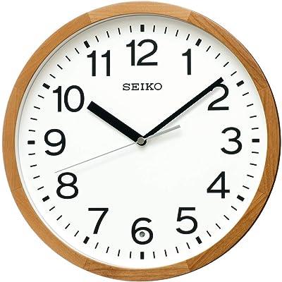 セイコークロック 掛け時計 天然色木地 直徑30×4.7cm 電波 アナログ 木枠 KX249B