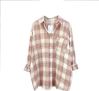 Vska Women's Loose Classics Plaid Oversize Casual Tees Shirt