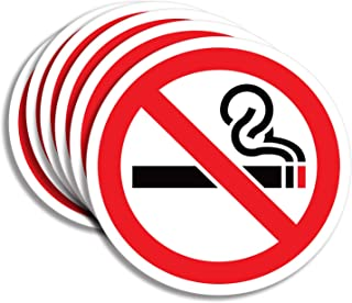 No Smoking Sign Sticker for House, Home & Business – 6 Pack 5x5 inch – Premium Self-Adhesive Vinyl, Laminated for Ultimate UV, Weather, Scratch, Water and Fade Resistance, Indoor & Outdoor
