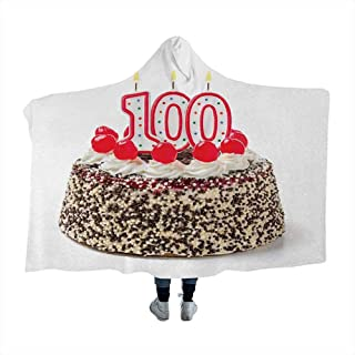 Wearable Sleeping Blankets 100th Birthday,Photo of Pastry Party Cake with Candles and Sprinkles Image Celebration,Multicolor Flannel Sherpa Fleece Throw Blankets 80 x 60 Inch