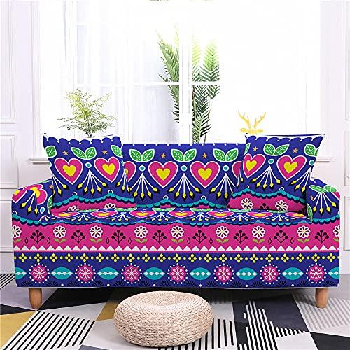 3D Bohemia Mandala Estrella étnico Marruecos Universal Funda de Sofá Estiramiento, Funda Elástica de Sofá Funda Estampada para Sofá Protector Cubierta de Muebles (Púrpura, 3 Plaza)