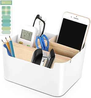 Desk Organizer Pen Pencil Holder - ANUNU Desktop Organizer 5 Compartment Organizer Box Cute Desk Storage Box Detachable Re...