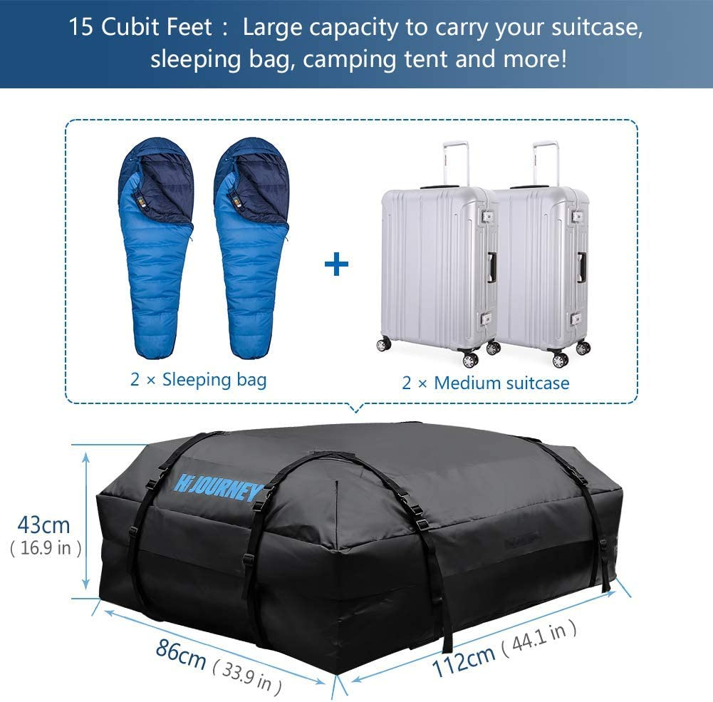 Tchipie Car Rooftop Cargo Carrier Bag Upgraded Waterproof Zipper Anti-Tear Coated PVC 14.8 Cubic Feet Fit for All Vechicles with//Without Rack SUV Roof Top Luggage Carrier