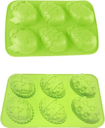 IHOMECOOKER 6 Even Easter Egg Bunny Chicks Silicone Cake Baking Mold Cake Pan Muffin Cups Handmade