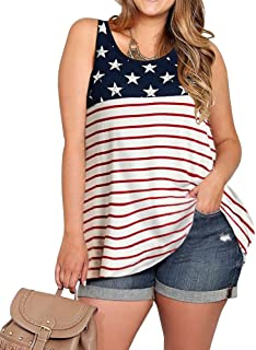 Imily Bela Womens Plus Size Flag Sleeveless Tunic Stars and Strips Patriotic Tank Top
