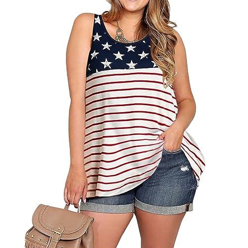 919dbcf042f Imily Bela Womens Plus Size Flag Sleeveless Tunic Stars and Strips  Patriotic Tank Top