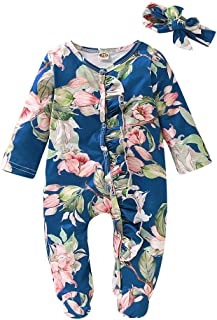 Unisex Baby Footed Sleeper, Newborn Girls Boys Floral Pleats Button Pajamas Romper with Headband 2pcs Outfits