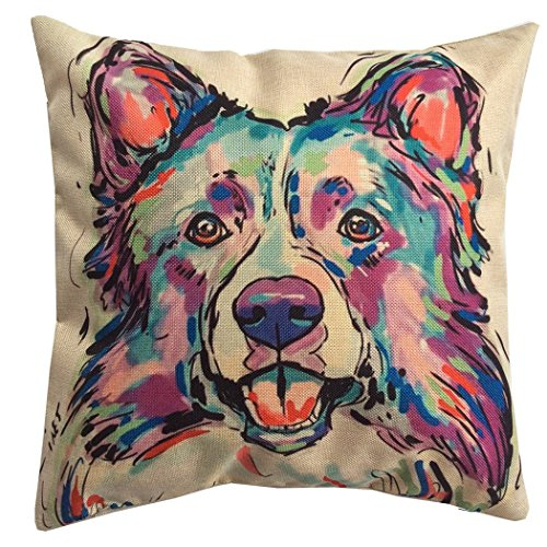 Redland Art Cute Pet Border Collie Dog Pattern Cotton Linen Throw Pillow Covers Car Sofa Cushion Cases Home Decor Square 18'X18' Inch