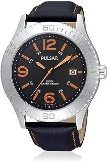 Pulsar Sports Mens Analog Quartz Watch with Leather Bracelet PS9005X1