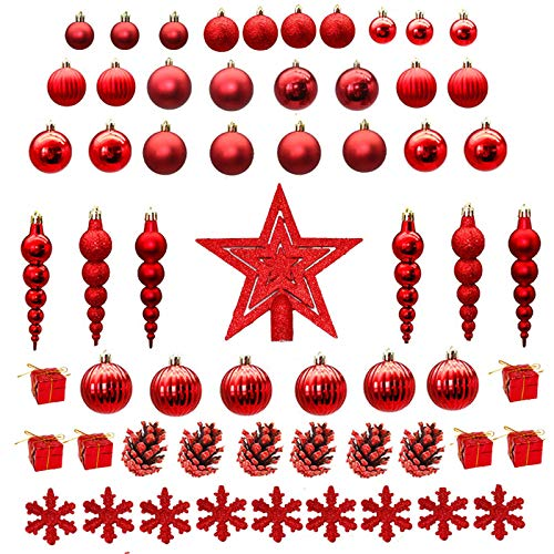 60 Pack Christmas Ball Ornaments Shatterproof Christmas Tree Decorations Set Hanging Baubles for Xmas Tree