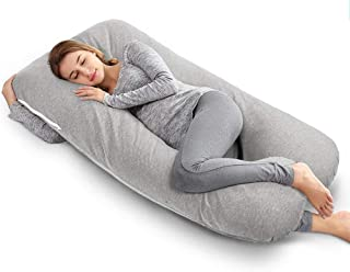 QUEEN ROSE Pregnancy Pillow, U-Shaped Body Pillow, Maternity Pillow for Sleeping with Removable and Washable Cotton Grey C...