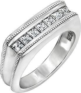 0.5 Carat Men's Swarovski Zirconia 7-Stone Square-Cut Milgrain Band Ring, Platinum-Plated Sterling Silver