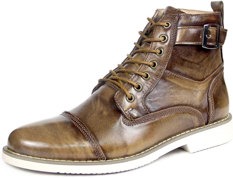 Män Martin stövlar, stövlar, stövlar, handgjorda Lace -up läder skor Locomotive skor Punk Casual stövlar Cowboy Riding Ankle Slip On stövlar, Storleks 38 -44  grossistpris och pålitlig kvalitet