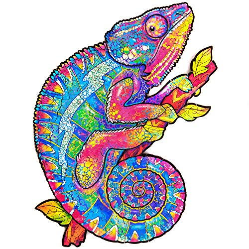 Unidragon Wooden Puzzle Jigsaw, Best Gift for Adults and Kids, Unique Shape Jigsaw Pieces Iridescent Chameleon, 7.5 x 9.5 in (19 x 24 cm) 106 pcs, Small
