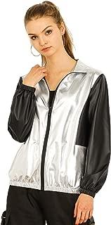 Allegra K Women's Metallic Shiny Long Sleeves Zipper Contrast Jacket Outwear