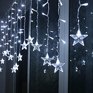 FEE-ZC ChristmasLED Star Curtain String Lights Fairy Garland Lights with 8 Modes Star Shaped Decorative Lamp for Home Holi...