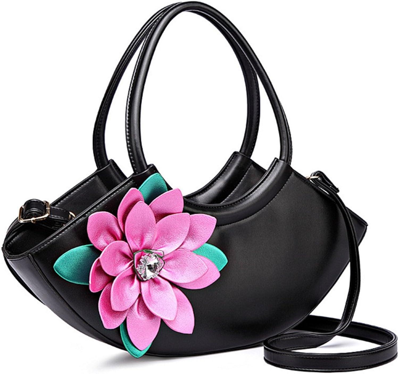 Skyseen Women Crescent-Shaped Handbag Tote Purses Shoulder Bag PU Leather 3D Flower Crossbody Bags Black