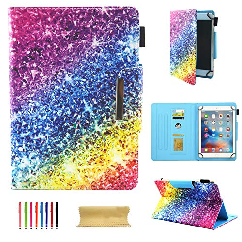 8 Inch Tablet Universal Case, UGOcase PU Leather Slim Fit Kickstand Folio Wallet Case Cover for iPad Mini, Samsung Galaxy Tab A/E/3 8.0, F i r e Hd 8, Nexus, HP, 7.5'-8.5' Tablet, Colorful Glitter