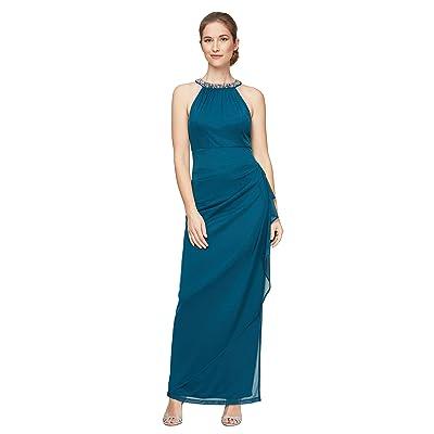 Alex Evenings Petite Long Sleeveless Mesh Dress (Peacock) Women