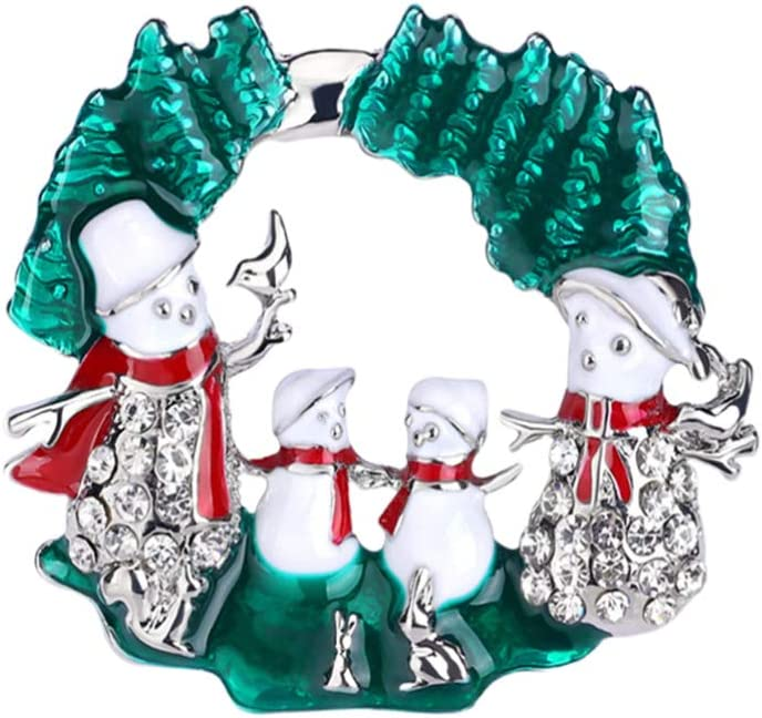 ABOOFAN Christmas Enamel Brooches Wreath Snowman Collar Badges Lapel Pin Men Suit Stud Shirt Alloy Brooch Costume Accessories